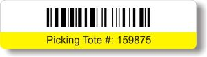 Colored Barcoded Tote Label